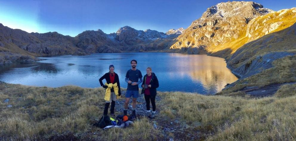 Matthew, Emily (right) and I set up camp at Lake Wilson. Photo: Petrina Duncan