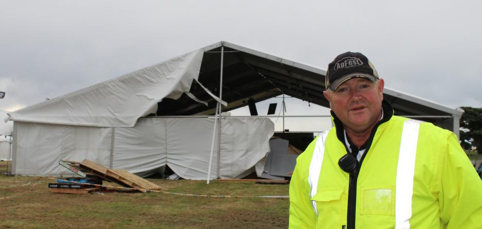 Ag Fest co-owner Andy Thompson on site this morning. Photo: Greymouth Star