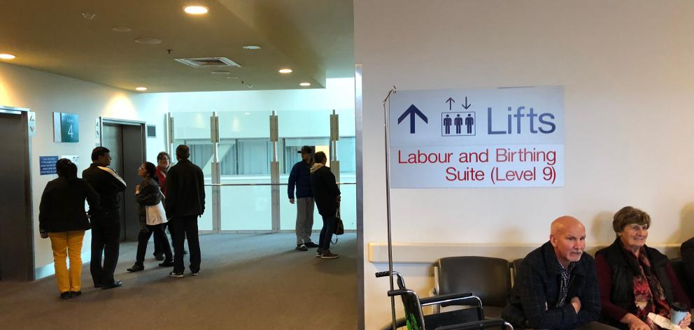 Signs pointing to the labour and birthing suits at Auckland Hospital. Photo: Debbie Porteous