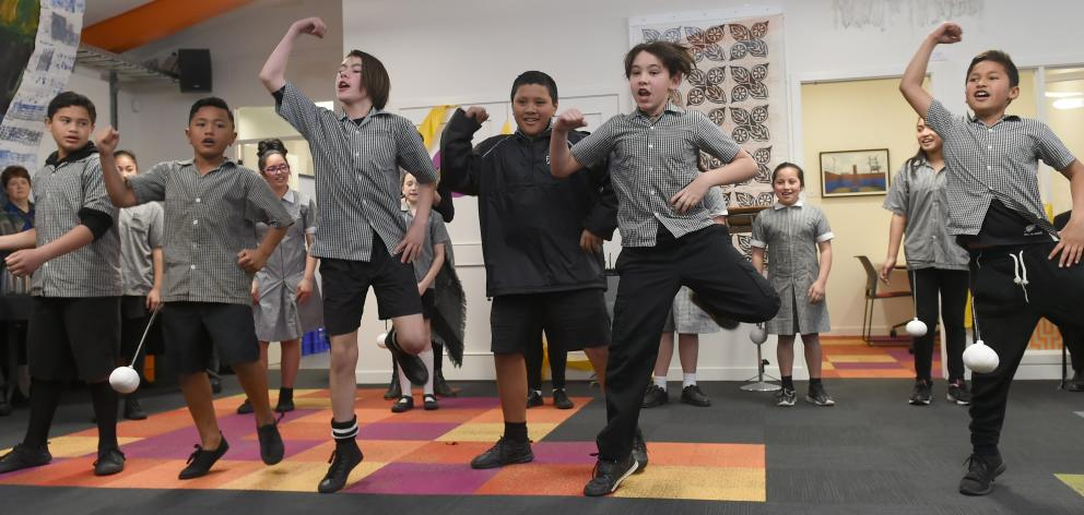Bathgate School pupils perform a haka at the opening of the South Dunedin Community Pop-Up on Friday afternoon. PHOTO: Gregor Richardson
