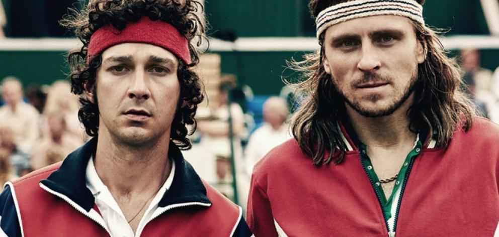 American actor Shia LaBoeuf plays John McEnroe (left) and Sweden's Sverrir Gudnason is Bjorn Borg. Photo: supplied