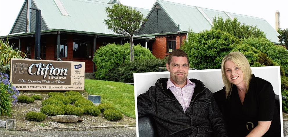 The Clifton Club Inn which will soon be transformed into Southland's charity hospital following a campaign by Blair and Melissa Vining (inset). Photo: Laura Smith & The New Zealand Herald