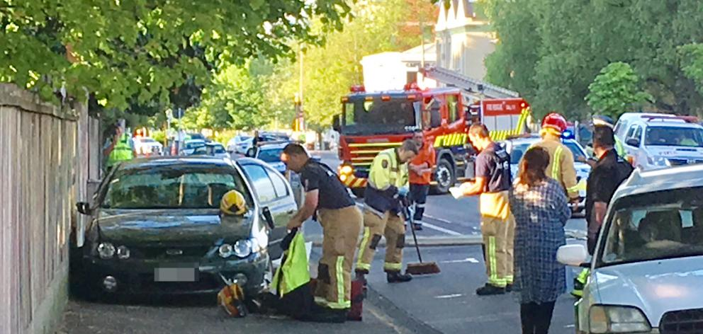 Emergency services at the scene this morning. Photo Gerard O'Brien