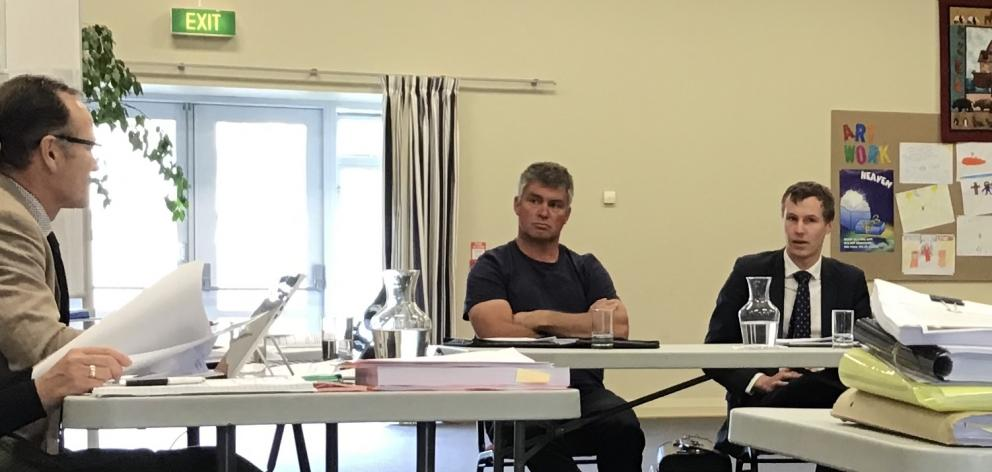 At the Commissioner's Hearing in Cromwell are (from left) Independent commissioner Gary Rae, Central Motor Speedway Club president Andy Erskine, lawyer for the club and Highlands Motorsport Park Derek McLachlan. Photo: Jared Morgan