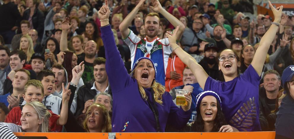 Warriors fans at Forsyth Barr Stadium on Friday night. Photo: Peter McIntosh