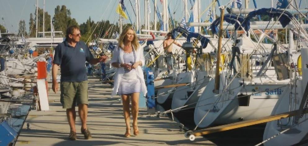 Barrie Neilson with Hilary Timmins at Corfu marina. Photo: TVNZ