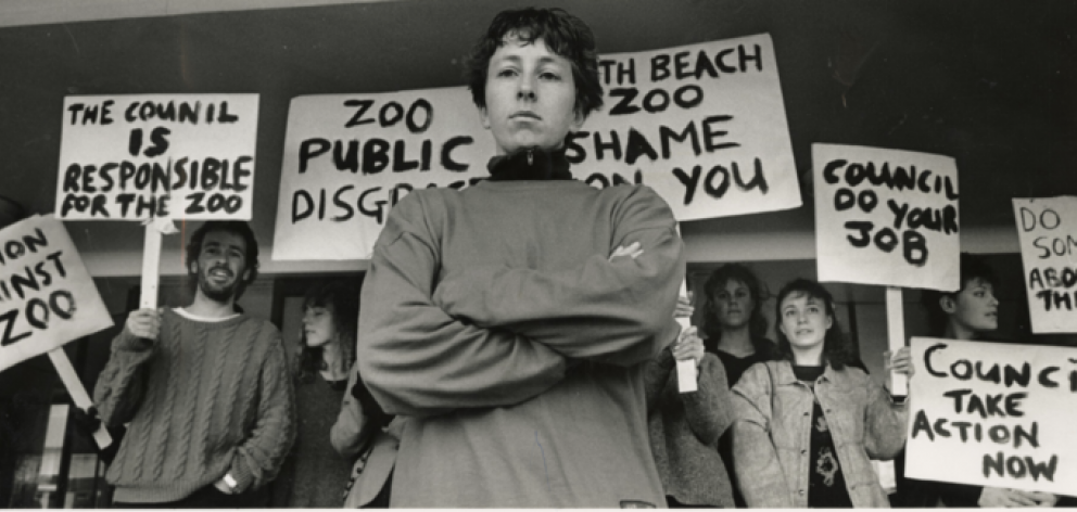 A group of protesters in Christchurch opposing the North Beach Zoo and campaigning for the zoo's...