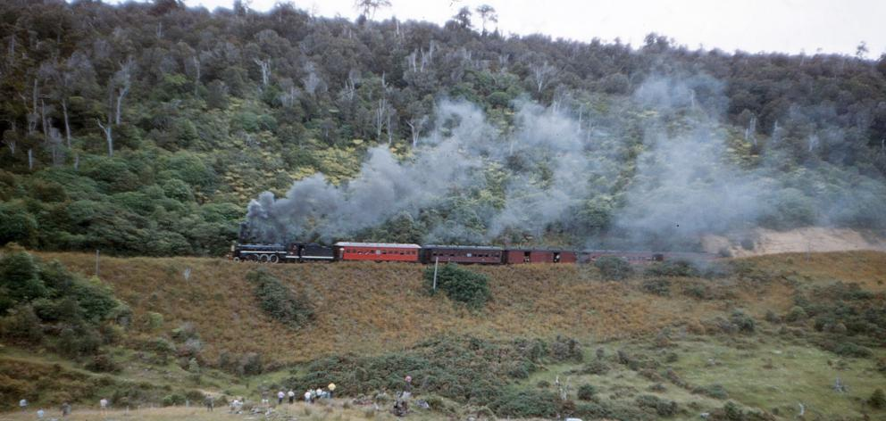 The Seaward Bush branch train, also known as the Invercargill to Tokanui train, makes its way...