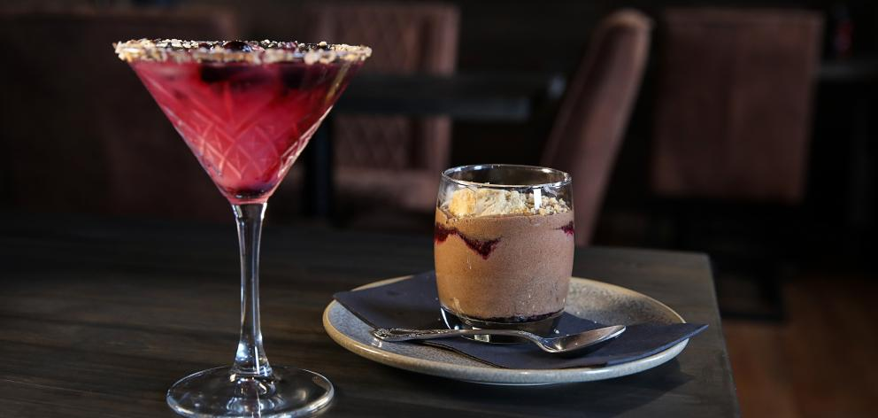 The Office's Super Jam Stout chocolate mousse, chocolate coconut ice cream and roasted blueberry,...