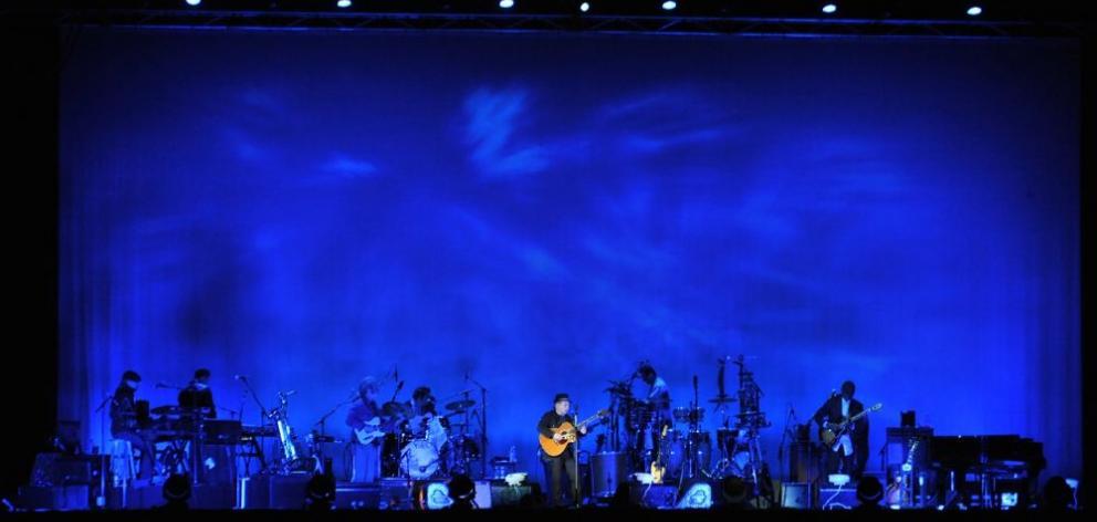 Paul Simon in concert at Dunedin's Forsyth Barr Stadium on Saturday night. Photo by Peter McIntosh.