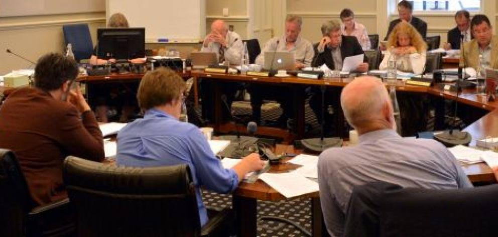 Dunedin city councillors and staff consider the city's budget at  yesterday's pre-draft annual plan meeting. Photo by Gerard O'Brien