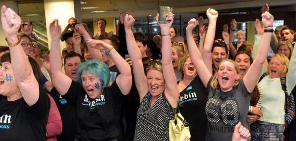 Dunedin residents celebrated the Gigatown victory with shrieks of joy, but, nearly 18 months on, the sense of triumph has been replaced by frustration for some. Photo by Peter McIntosh