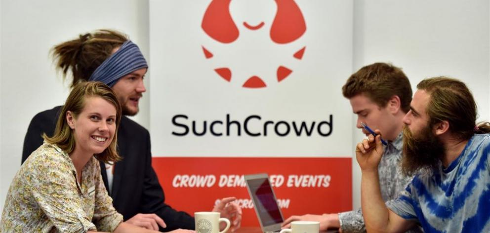 Entrepreneur Abbe Hyde at a meeting with Jacob Manning (left) and Connor McGregor, also from SuchCrowd, and event planner Josh Smith, from Creative Critters. Photo by Gregor Richardson.