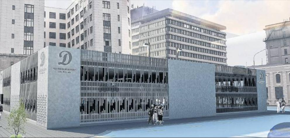 An artist's impression shows the three-level car park to be built behind the former chief post office in Dunedin.