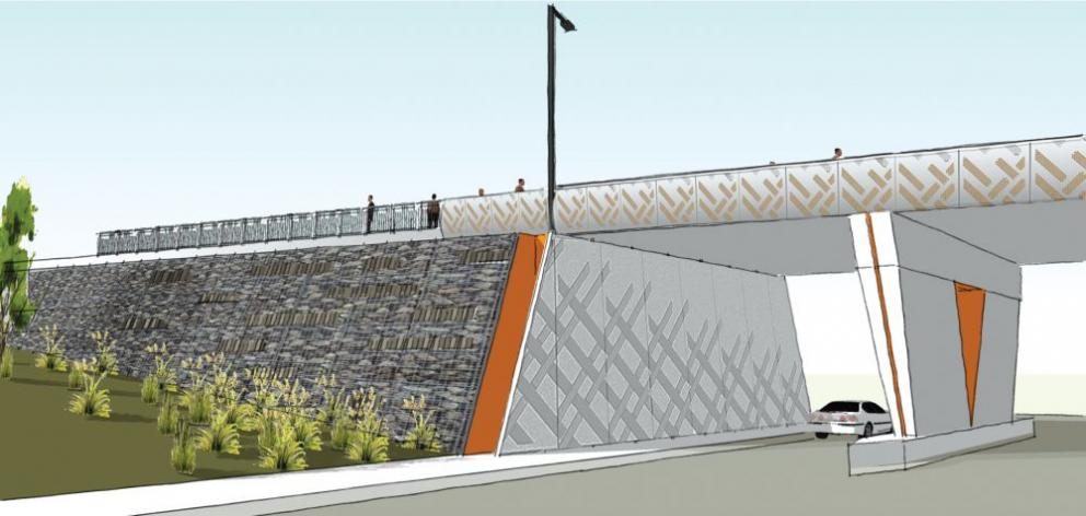 A computer-generated view of the new bridge linking Riselaw Rd and Mornington Rd, over Caversham Valley Rd, at Lookout Point.