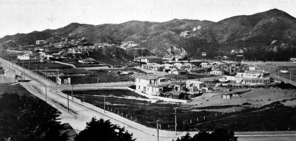 A panorama of the rapidly-growing residential locality of Island Bay, near Wellington, from the hillside. - Otago Witness, 3.9.1913.