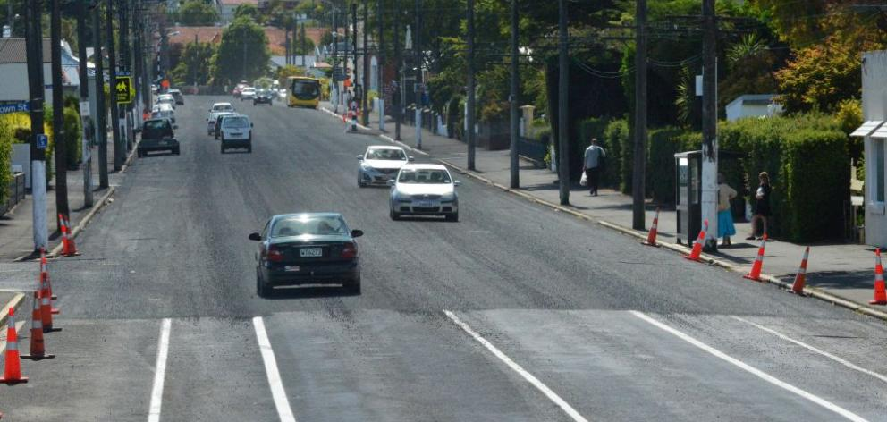 This section of North Rd, Dunedin, was sealed on Tuesday, only hours after new lane markings were painted on the road. Photo by Gerard O'Brien.