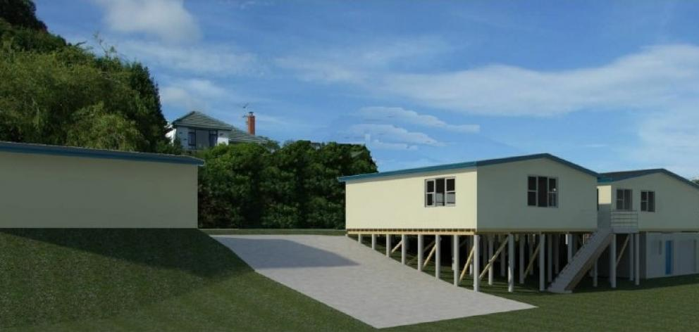 A digital image previews the appearance of the proposed softball clubrooms at Ellis Park, looking east.