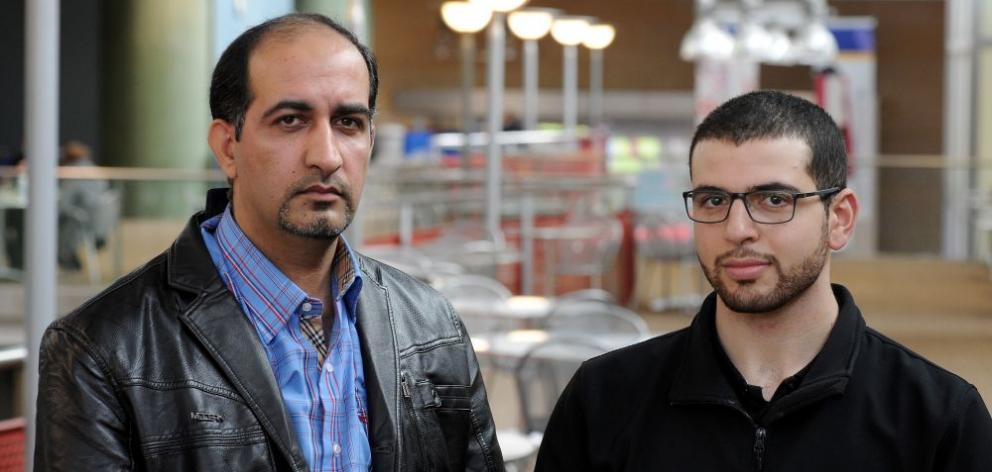 University of Otago biochemistry researcher Dr Atheer Matroud (left) and Iraqi Students' Association president Zaid Dohan are worried about their families back home. Photo by Craig Baxter.