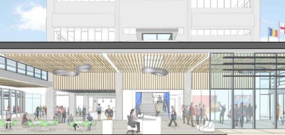 An artist's impression shows what Otago Polytechnic's student hub could look like. Image supplied.