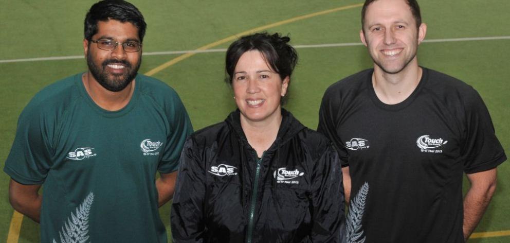 Dunedin touch officials (from left) Rahul Das, Toni Wall and Damian Burden look forward to filling roles with national teams. Photo by Gregor Richardson.