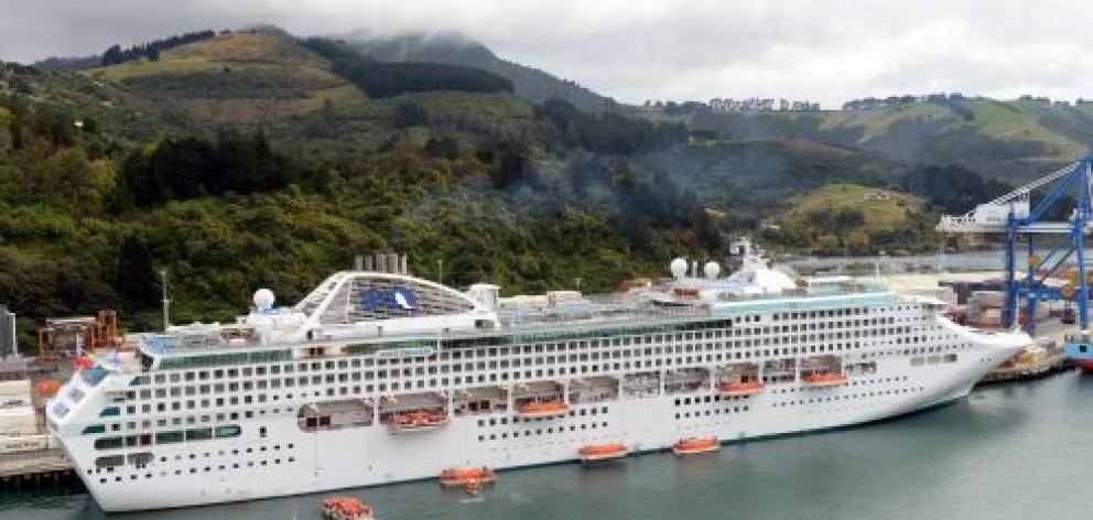 A lifeboat drill is carried out on Dawn Princess, the last of this season's large cruise ships to visit Dunedin,  after it docked at Port Chalmers yesterday. Photo by Gerard O'Brien.
