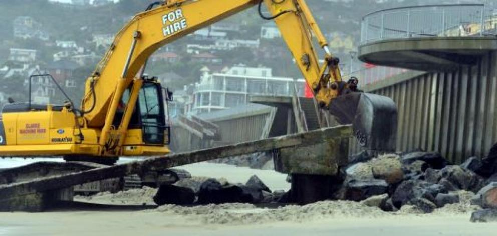 The old access ramp for the St Clair Surf Life Saving Club has been removed and is to be replaced after recent damage to the sea wall. Photo by Peter McIntosh.