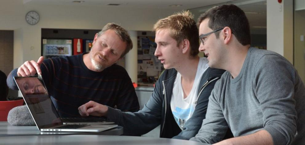 From left, Chris Burgess, Vincent Rijlaarsdam and Beau Murrah, who won the ''Spirit of GovHack'' award at a ceremony in Wellington for their website prototype which aims to make legislative data easier for the public to access. Photo by Gerard O'Brien.