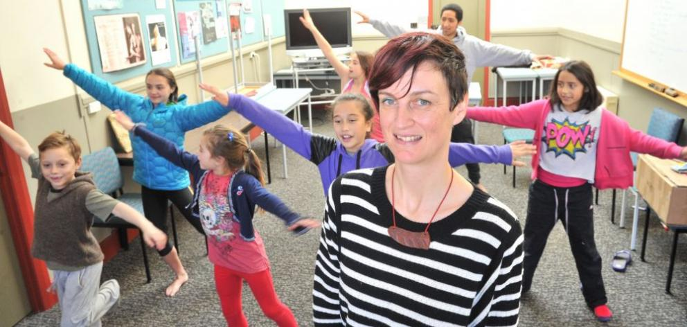 Caroline Plummer Fellow Louise Potiki Bryant (foreground) with a group of young dancers rehearsing at the PhysEd School dance studio for Te Motu-tapu O Tinirau, which will be performed at Toitu Otago Settlers Museum on June 21. The young dancers are (from