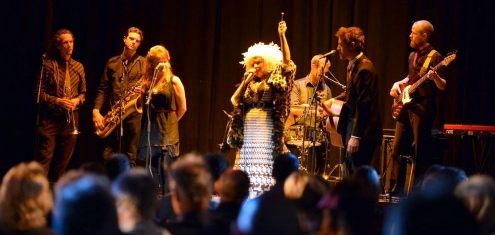 Dunedin band Tahu and the Takahes, fronted by singer Tahu Mackenzie, opens the Dunedin Fringe Festival at the Town Hall last night. Photo by Peter McIntosh.