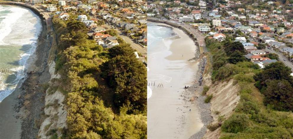 Photos taken on July 22 (left) and yesterday show the decreasing gradient of St Clair's eroding dunes. Photos by Stephen Jaquiery.