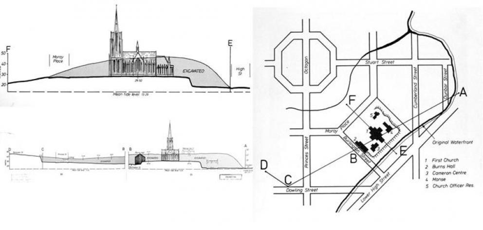 Diagrams of the levelling of Bell Hill in relation to First Church, from First Church of Otago by Arthur Salmond (Otago Heritage Books, 1983), give some indication of the massive work involved in demolishing Bell Hill. Above the present level of Cumberlan