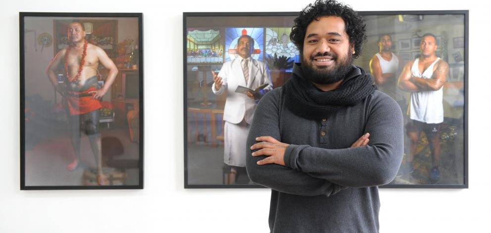 Pati Solomona Tyrell (25) pictured here in Dunedin with his Fagogo exhibition is also a Walters...