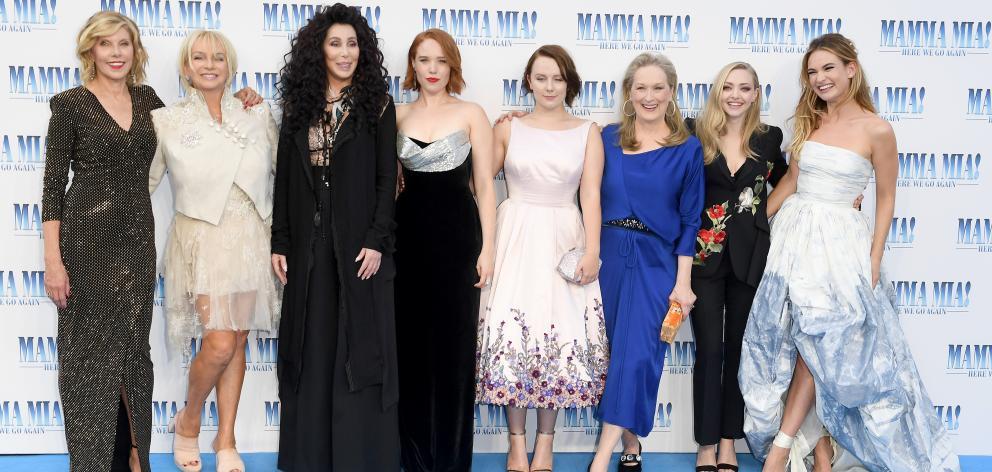 From left: Christina Baranski, Judy Cramer, Cher, Jessica Keenan Wynn, Alexa Davies, Meryl Streep...