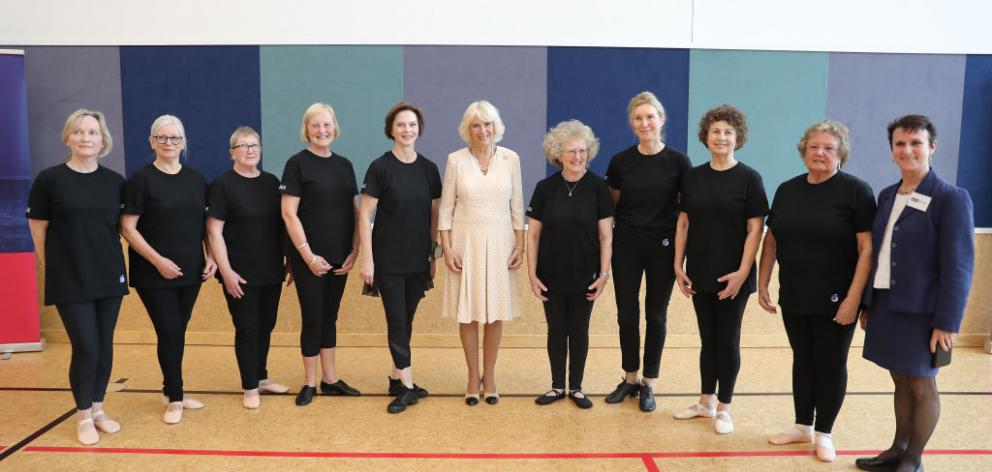 Camilla, Duchess of Cornwall, poses with the ''Silver Swans'' dancers as she attends an Active Elderly engagement at the Salvation Army Centre in Christchurch during the royal tour in November. Photo: Getty Images