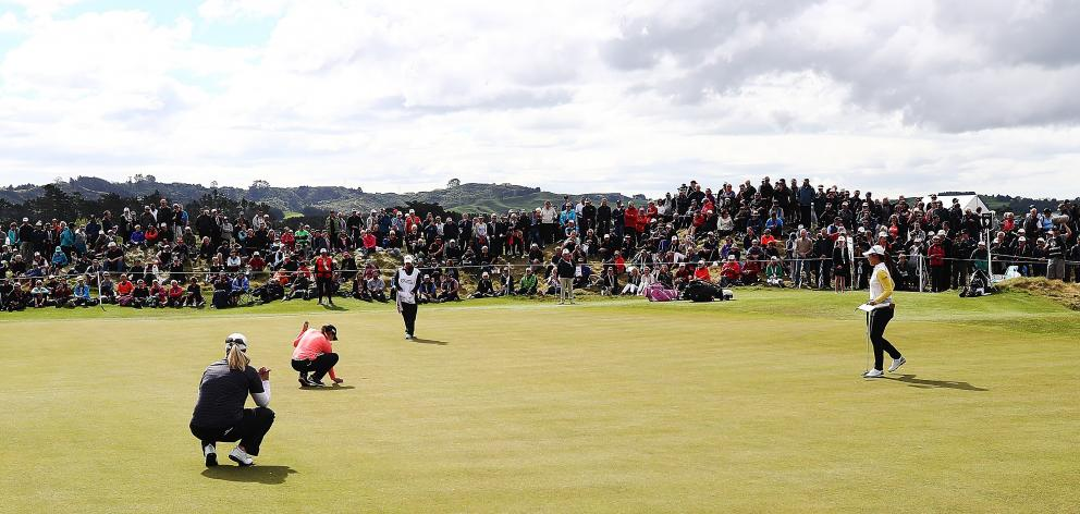 Lydia Ko lines up a putt during day two of the New Zealand Women's Open at Windross Farm. Photo: Getty Images