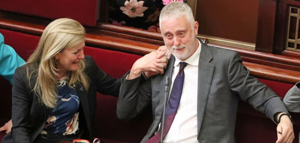 Gavin Jennings is congratulated by Fiona Patten in the Upper House today. Photo: Getty Images