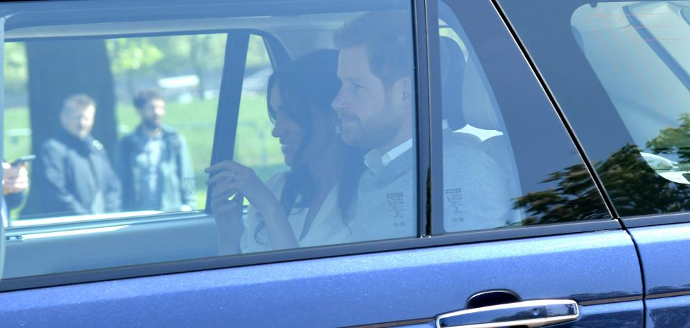Prince Harry and Meghan Markle arrive for wedding rehearsals in Windsor. Photo: Getty Images