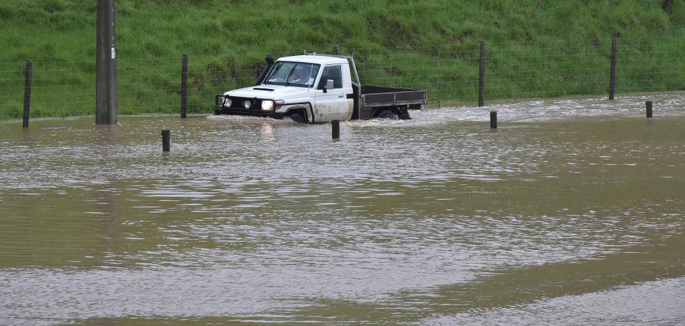 A truck stuck in Henley yesterday. Photo: Gregor Richardson