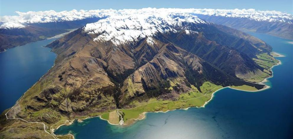 Hunter Valley station, which extends from Lake Wanaka (left) around the shore of Lake Hawea ...