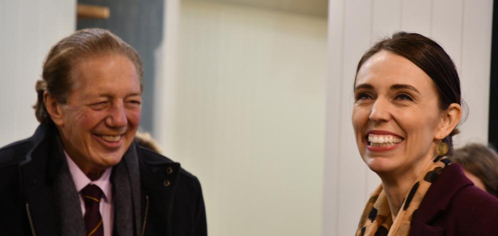 Prime Minister Jacinda Ardern shares a light moment with Invercargill Mayor Tim Shadbolt. Photo:...
