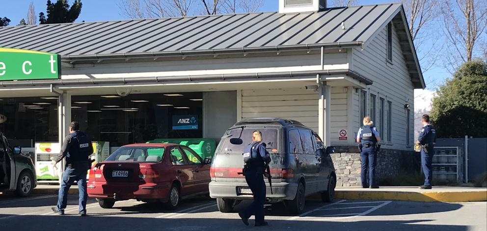 Armed police were called to the Frankton BP late this afternoon. Photo: Daisy Hudson
