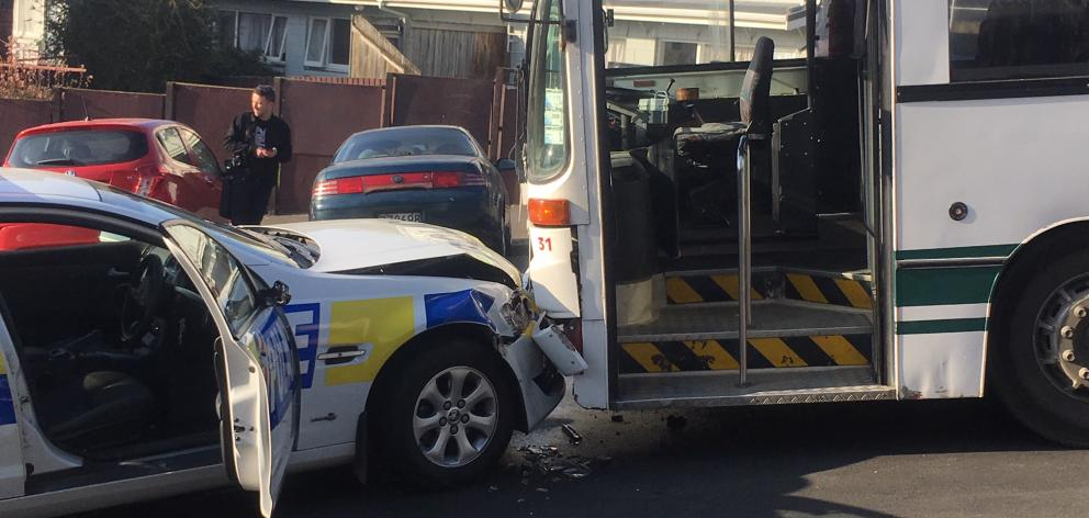 The police car collided with an Otago Road Services school bus. Photo: Stephen Jaquiery