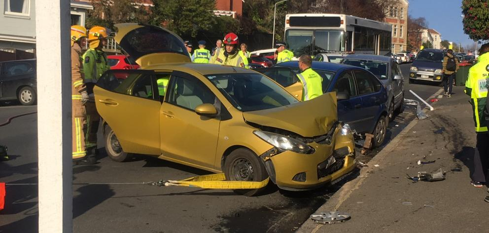 Three cars were damaged in the crash. Photo: Stephen Jaquiery