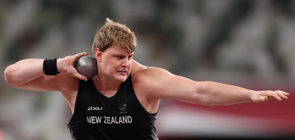 Jacko Gill of Team New Zealand competes in the Men's Shot Put qualification. Photo: Getty Images