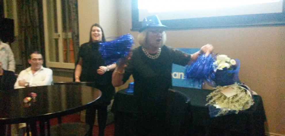 National candidate Jaqui Dean celebrates winning the Waitaki electorate. Photo: Shannon Gillies