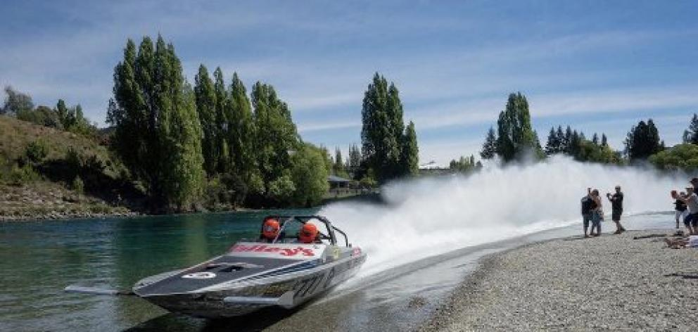 The Talley's U777 jet-boat speeds on the Clutha River near Luggate recently. PHOTO: SUPPLIED