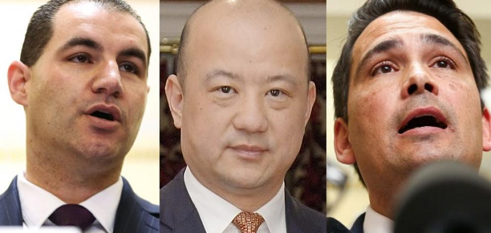 From left: MP Jami-lee Ross, businessman Zhang Yikun and National Party leader Simon Bridges....