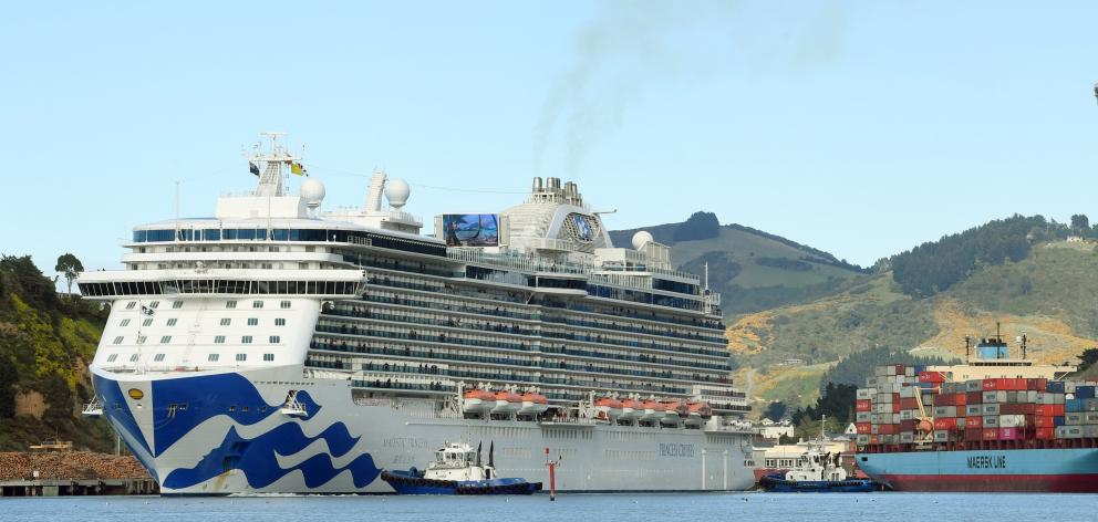 Majestic Princess sails into Port Chalmers yesterday on the first day of the cruise ship season....