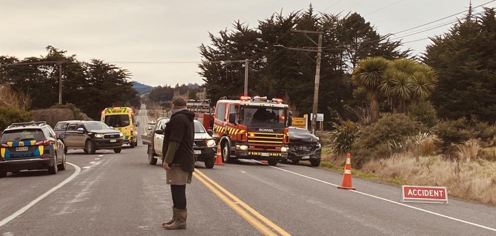 Emergency services at the scene on SH1 this morning. Photo: Craig Baxter